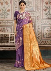 Kanchipuram Silk Orange and Violet Woven Classic Saree