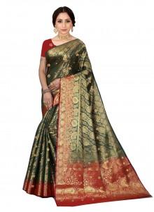 Kanjivaram Silk Contemporary Saree in Green
