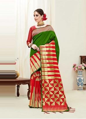 Kanjivaram Silk Green and Red Weaving Designer Traditional Saree