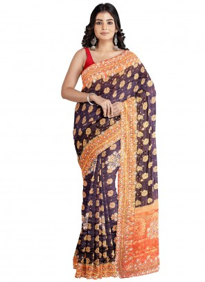 Kanjivaram Silk Handwork Brown Designer Saree