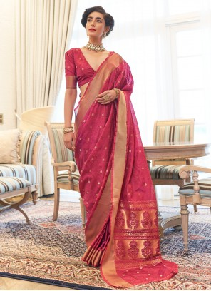 Kanjivaram Silk Pink Woven Traditional Designer Saree