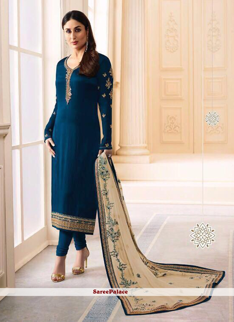 Kareena Kapoor Embroidered Navy Blue Satin Churidar Salwar Suit