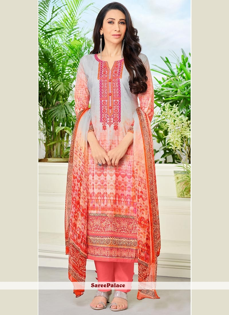 234c017a4c Buy Karishma Kapoor Grey and Peach Designer Straight Suit Online