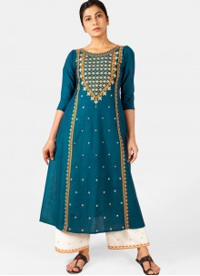 Cotton Embroidered Blue Casual Kurti
