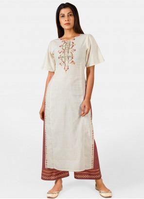 Khadi Embroidered Off White Party Wear Kurti