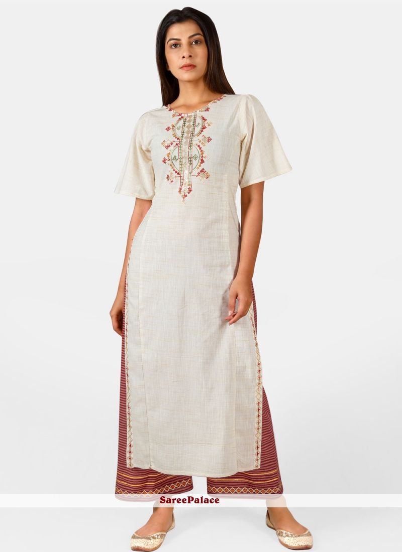 Cotton Embroidered Off White Party Wear Kurti