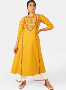 Cotton Festival Yellow Party Wear Kurti