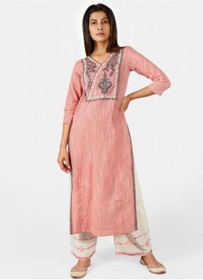 Pink Cotton Festival Party Wear Kurti
