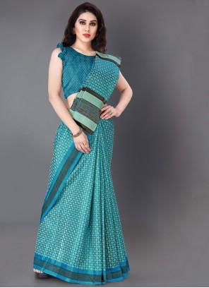 Khadi Silk Aqua Blue Printed Classic Saree