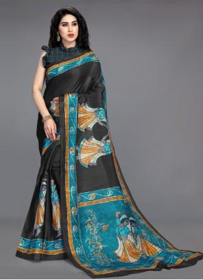 Cotton Silk Black Printed Saree