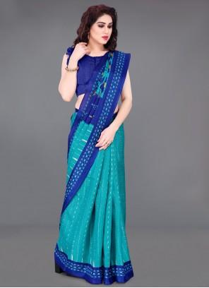 Cotton Silk Blue Printed Saree