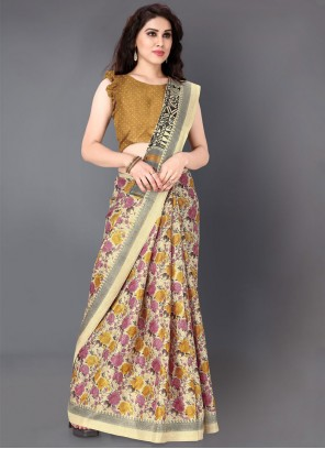 Khadi Silk Casual Saree in Multi Colour