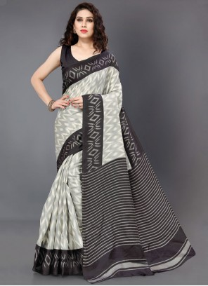 Khadi Silk Classic Saree in Black and Grey