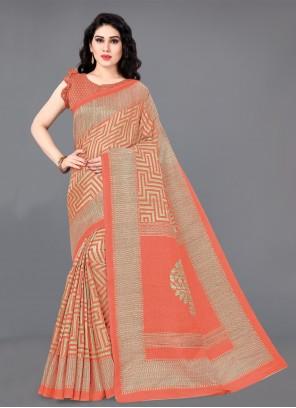Cotton Silk Orange Designer Saree