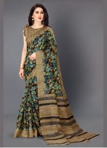 Cotton Silk Multi Colour Printed Casual Saree