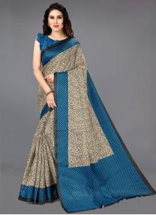 Khadi Silk Multi Colour Printed Casual Saree