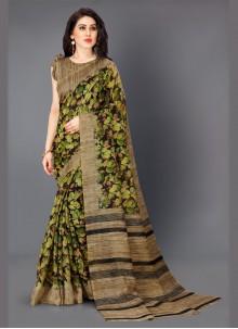 Khadi Silk Multi Colour Printed Trendy Saree