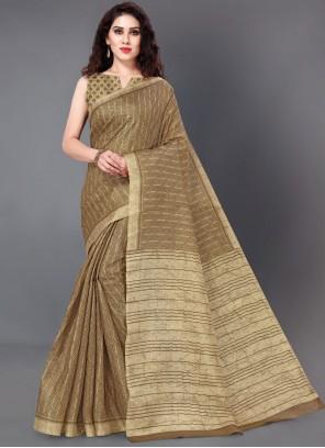 Cotton Silk Printed Brown Printed Saree