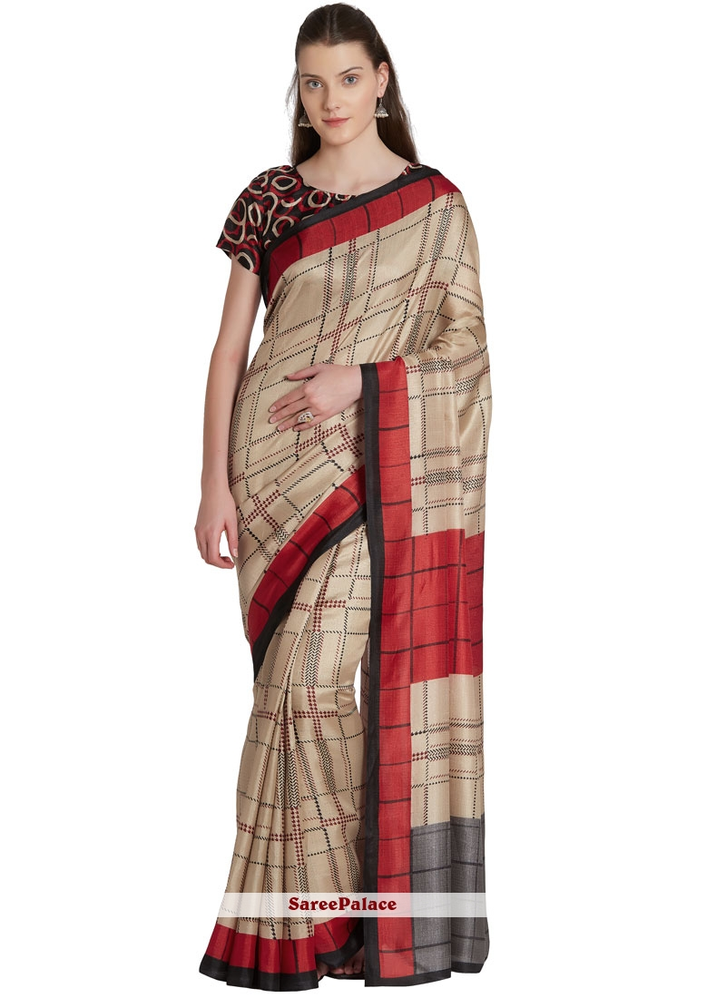 Khadi Silk Printed Casual Saree in Beige