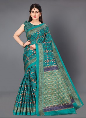 Cotton Silk Printed Casual Saree in Teal