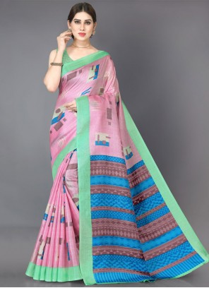 Khadi Silk Printed Multi Colour Casual Saree