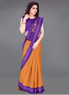 Cotton Silk Printed Saree in Orange