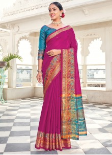 Purple Khadi Silk Weaving Zari Saree