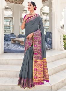 Khadi Silk Weaving Zari Saree in Grey