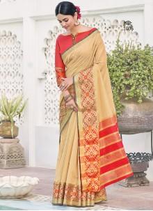 Khadi Silk Weaving Beige Saree