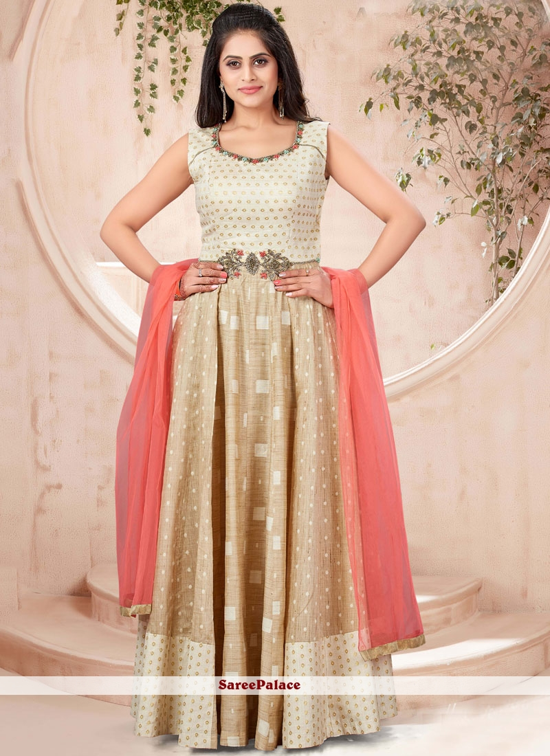 Khadi Silk Wedding Trendy Gown