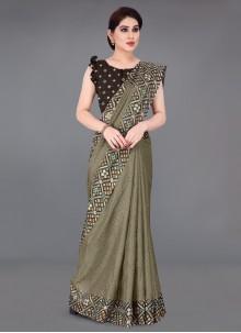 Khaki Color Printed Saree