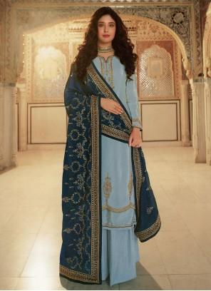 Kritika Kamra Aqua Blue Faux Georgette Designer Palazzo Suit