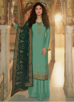 Kritika Kamra Embroidered Designer Palazzo Aqua Blue Salwar Kameez