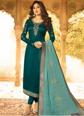 Kritika Kamra Embroidered Green Churidar Designer Suit