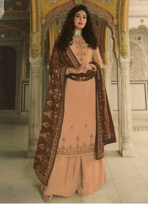 Kritika Kamra Faux Georgette Embroidered Peach Designer Palazzo Suit