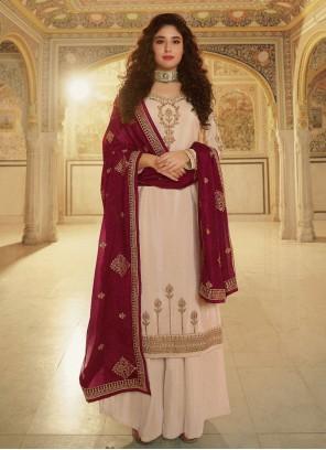 Kritika Kamra Faux Georgette Festival Cream Designer Palazzo Suit