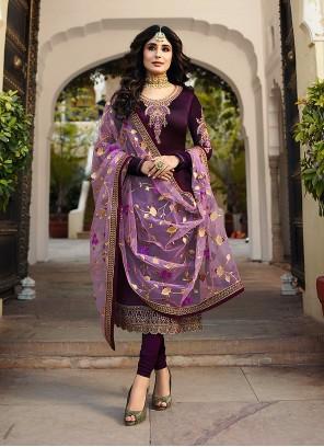 Kritika Kamra Faux Georgette Purple Churidar Designer Suit
