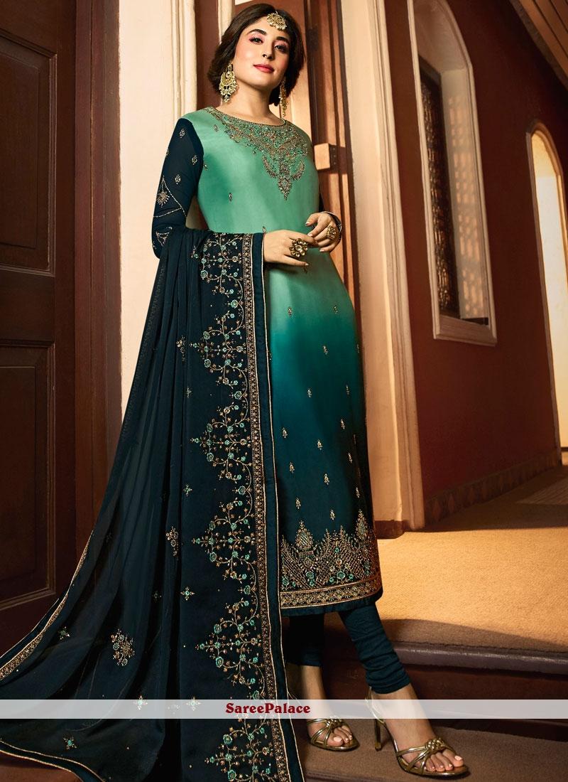 Kritika Kamra Georgette Satin Embroidered Churidar Designer Suit