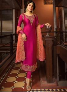 Kritika Kamra Georgette Satin Rani Embroidered Churidar Designer Suit