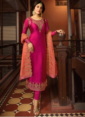 Kritika Kamra Georgette Satin Rani Embroidered Churidar Designer Suit