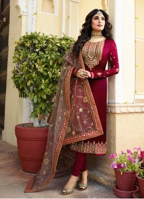 Kritika Kamra Maroon Faux Georgette Resham Churidar Designer Suit