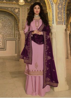 Kritika Kamra Purple Faux Georgette Resham Designer Palazzo Suit