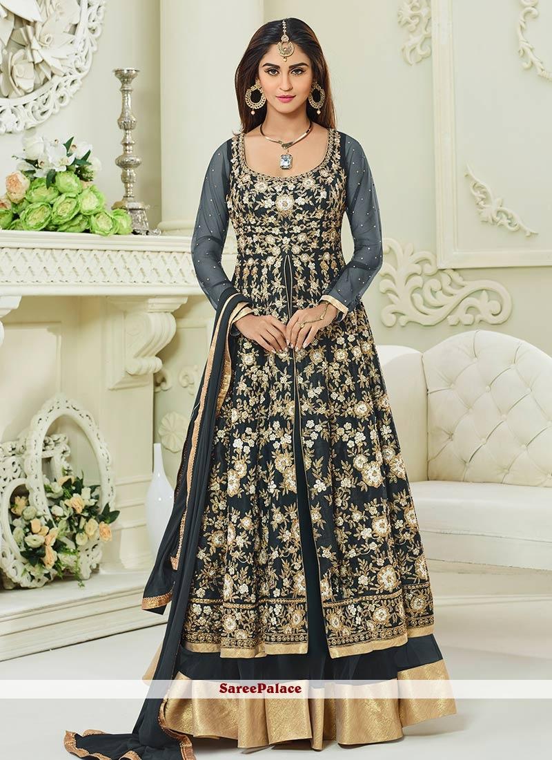 Krystle Dsouza Grey Malbari Silk  Floor Length Anarkali Suit