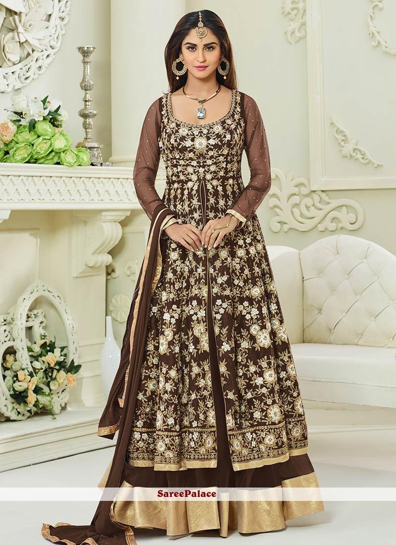 Krystle Dsouza Malbari Silk  Brown Embroidered Work Floor Length Anarkali Suit