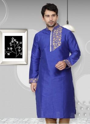 Kurta Embroidered Art Dupion Silk in Blue