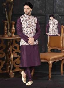 Kurta Payjama With Jacket Printed Art Silk in Off White