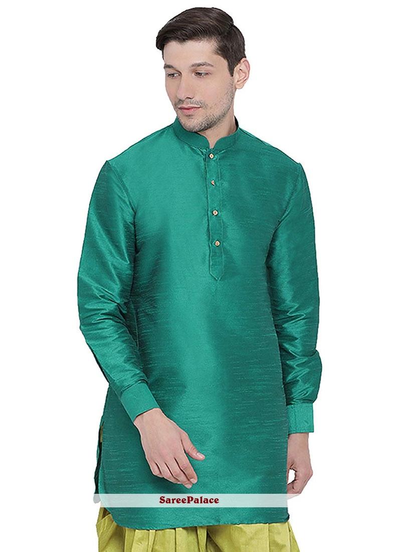 Kurta Plain Art Dupion Silk in Green
