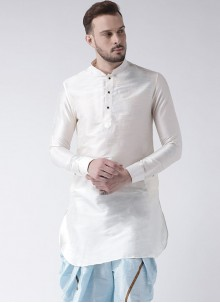 Kurta Plain Art Dupion Silk in White