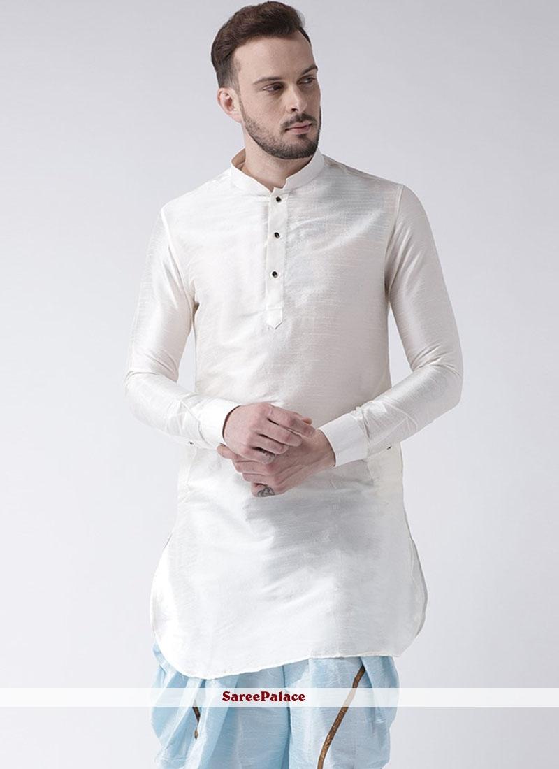 Kurta Plain Art Dupion Silk in White
