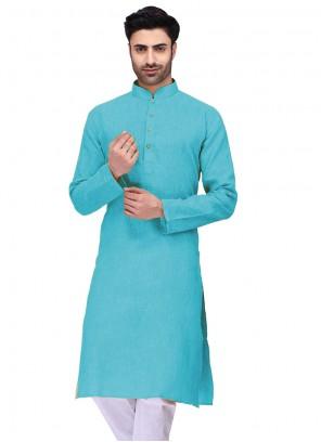 Kurta Plain Cotton in Blue